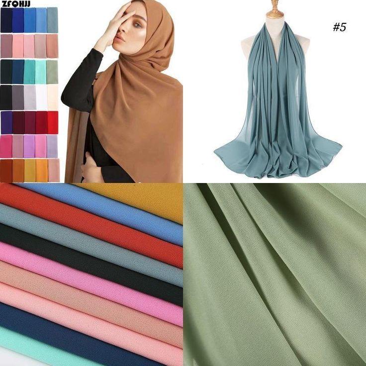 ZFQHJJ Muslim Lady Plain Pure Color Bubble Chiffon Hijab