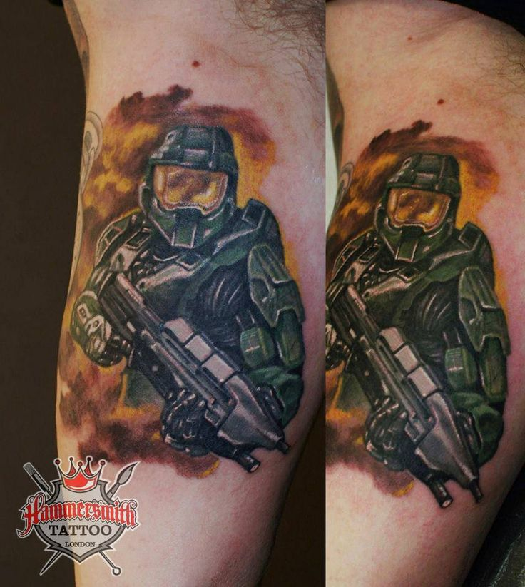 Here is one for all you Gamers out there Master Chief from the Halo series, incredible single 4 hour session colour piece from the ever productive Ivan Bor at hammersmith tattoo, one of London's Finest Colour specialists, Ivan if defiantly the artist to bring any ideas of Colour work you may have to life