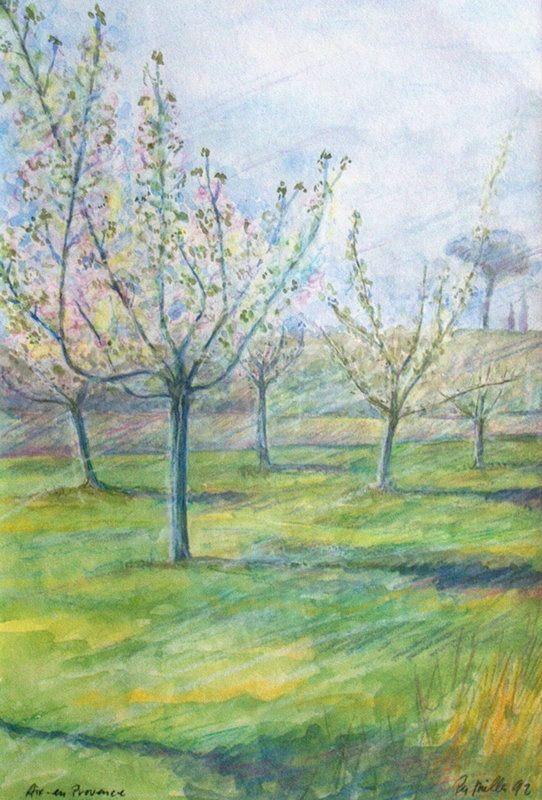 Træer i Aux en Provence akvarel