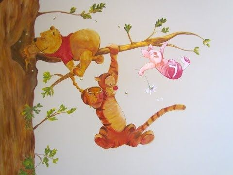Hand painted mural by me-all free-hand. An array of well loved characters for a baby nursery. This mural is hand-painted free hand by me. I did some decorative painting on the crib to match the room. I really enjoyed doing this nursery mural for friends Rita and Maz!