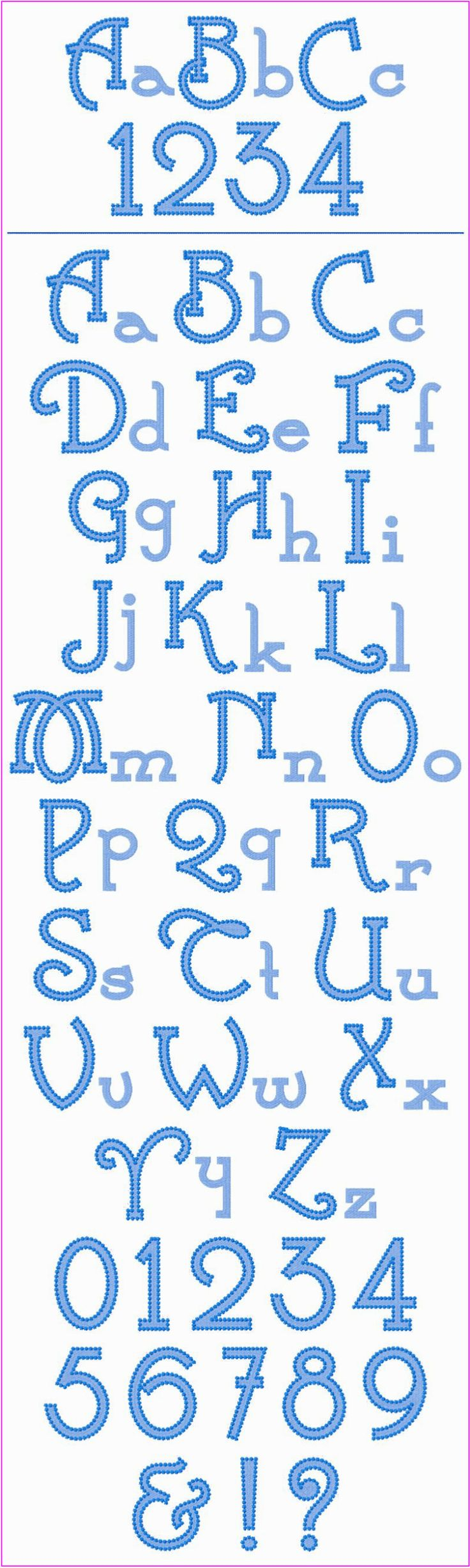 """! ! ! Whimsy Font ! ! ! These are fun, whimsical letters that you'll have fun using on lots of different projects. They're great for towels, totes, tees, hats, table linens, clothing, etc. You get upper case, lower case and numbers. The upper case is 3.75"""" tall, and the lower case is between 1.25"""" & 2.75"""" tall."""