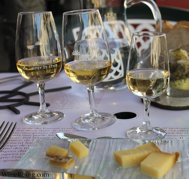 Three glasses of vin jaune (yellow #wine) with Comté cheese in Arbois, France.