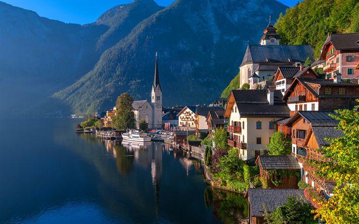Download wallpapers Hallstatt, 4k, summer, lake, mountains, Europe, Austria