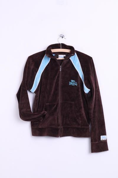 Lonsdale Womens L Sweatshirt Fleece Top Brown Sport Cotton - RetrospectClothes