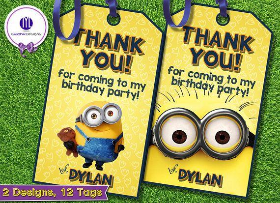 Minion Thank You Tags Minion Favor Tags Minion Gift Tags