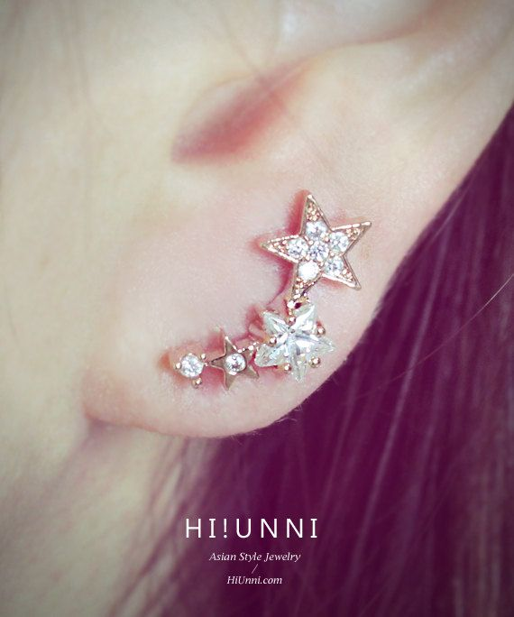 16g CZ Studded Shooting Star Barbell Ear Piercing Stud by HiUnni