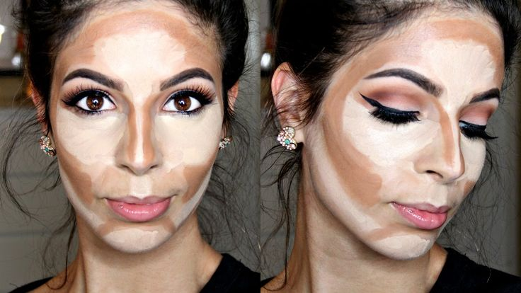 How to Cream Contour & Highlight Drugstore Products. I never do makeup, but this would be interesting to try. Looks super uncomfortable to have all that crap on my face tho!