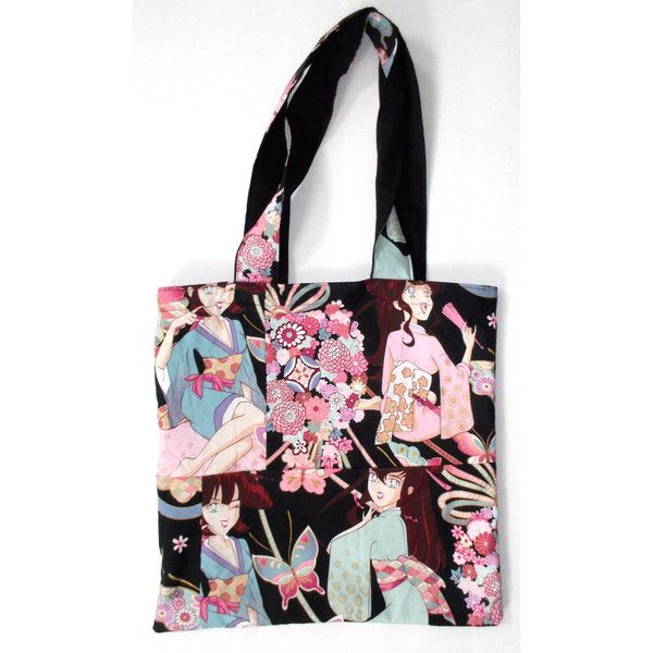 Anime Butterfly Tote Bag Alexander Henry's Miss Butterfly Fabric (Out... ($34) ❤ liked on Polyvore featuring bags, handbags, tote bags, animal print purses, weekend bag, tote handbags, pattern tote bag and tote purses