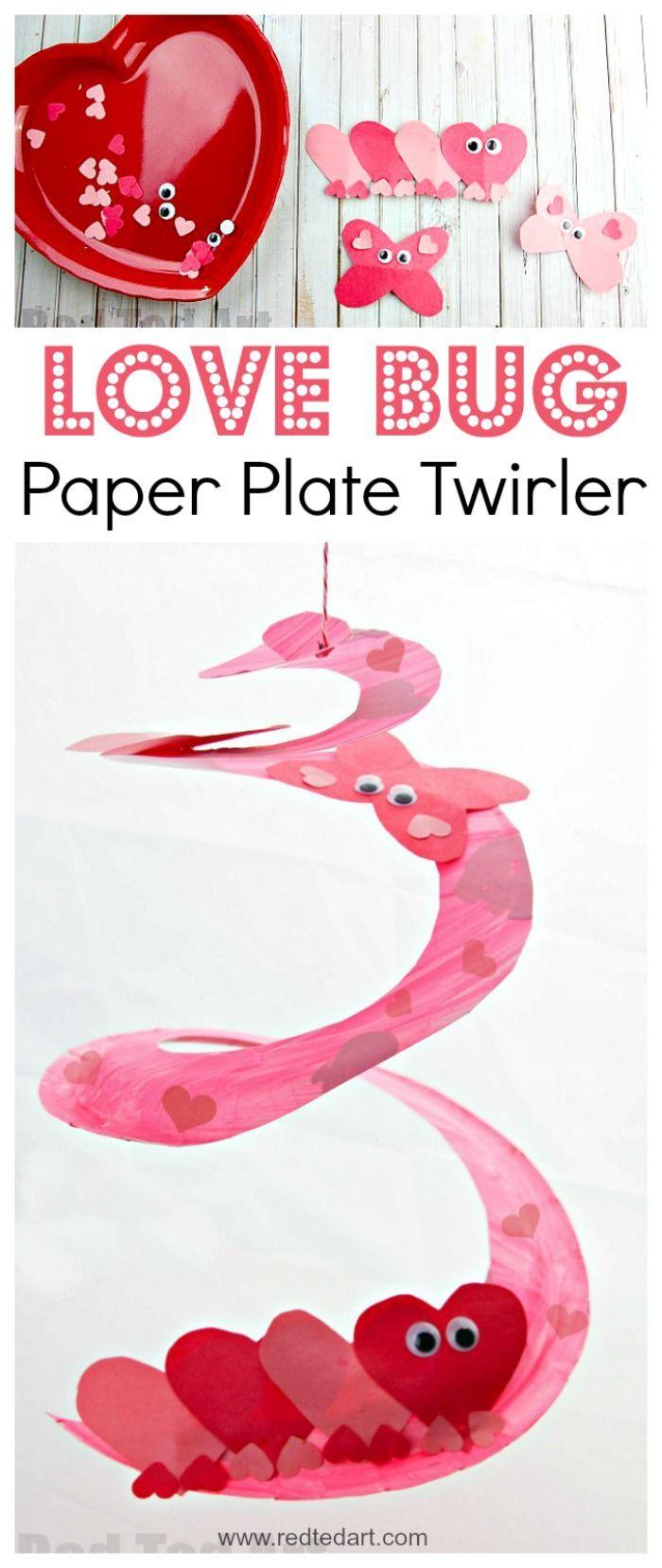 df86a9e63af142f23028e1491904ff7f - Love Bug Paper Plate Twirler. Oh my, this is such a super duper CUTE Valentine's...
