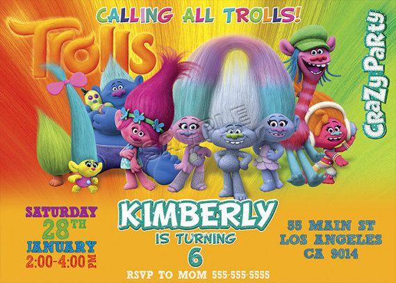 Trolls Movie Invitation 2016. Trolls Invitation by BogdanDesign