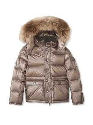 -80,800% OFF Moncler Kid's Fur Trimmed Down Coat (Grey)