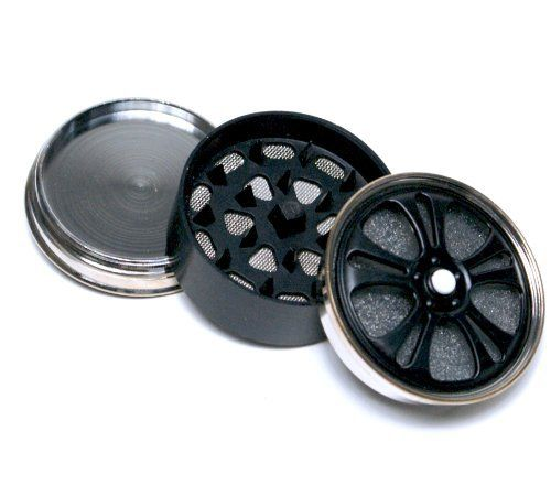 2'' Metal Tobacco Herb Spice Alloy Spinning wheel Magnetic Grinder 3Pc - Black color by edge cutter. $5.99. Top half is magnetic whilst the other side screws shut to the middle. The middle has a wire mesh inside for the pollen on one side and teeth on the other side. Both the outside of top and bottom have wheels that really do spin - please see photo