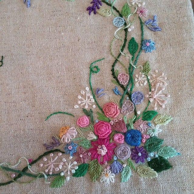 #Embroidery#stitch#프랑스자수#자수#일산프랑스자수공방#언제나 꽃은좋아~~ #수강생분의 솜씨~~