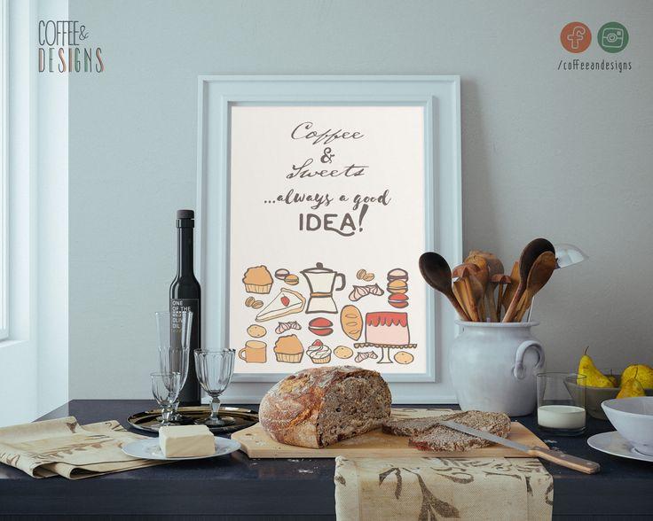 Poster Amanti Dolci & Caffè   Coffee Sweet Lover   Cartolina   Printable   Stampabile   Decor your Kitchen   Decora la tua cucina   Bakery di coffeeandesigns su Etsy