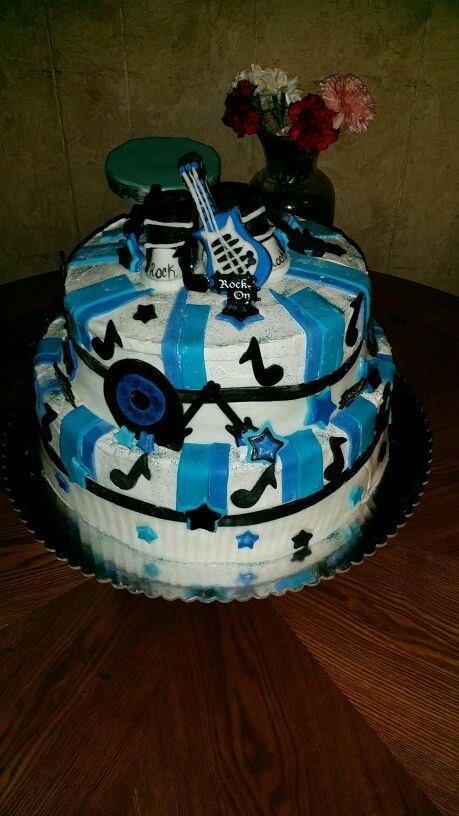 The 19 best nephew baby shower ideas images on pinterest baby rock and roll baby shower cake moms edible creations freerunsca Images