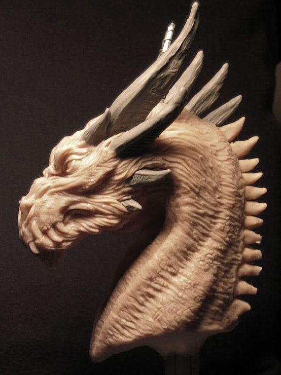 Serious Dragon original concept sculpt bust by Creaturae on Etsy