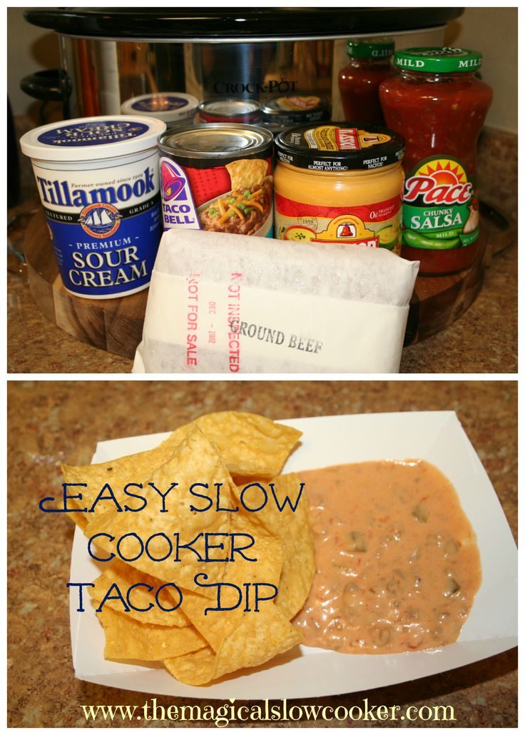 Slow Cooker Taco Dip- Easy Peasy to make! 1 pound ground beef browned 1 container sour cream 1 jar salsa 1 jar nacho cheese sauce 1 can refried beans set to high for 2 hours serve with chips!