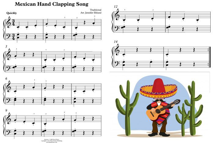 Free Sheet Music Mexican Hand Clapping Song - Piano Pronto