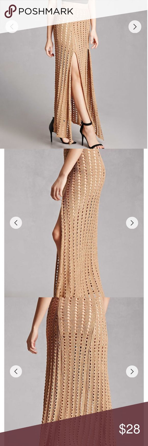 Selfie Leslie Crochet maxi skirt Cute maxi dress by selfie Leslie  Has two slits on the sides  Made with very good quality material  Super cute for the summer. It is new with tags! Skirts Maxi