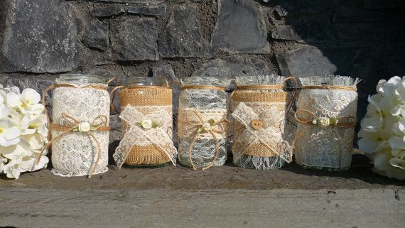 Burlap and Lace Glass Jar Vases/ Candle Lanterns, Rustic Wedding, Vintage, Shabby Chic, French, Country, Fall- SET OF 4