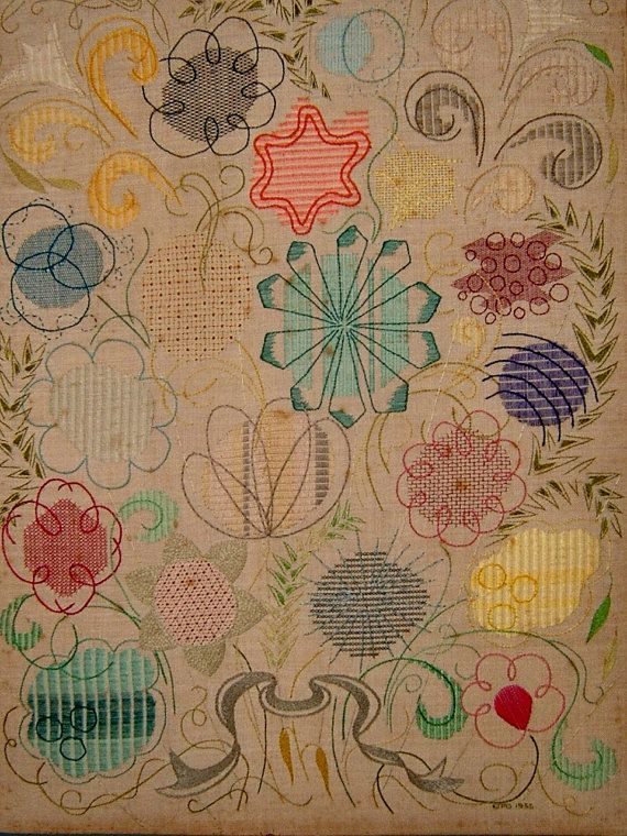 Vintage s embroidery sampler needlework by