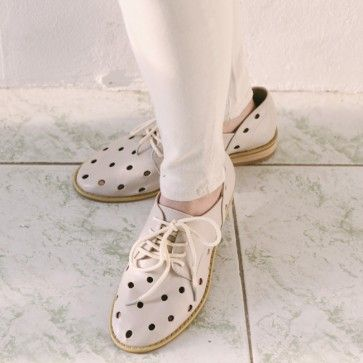 [Dot Hole #Oxfords : Beige] Faux leather oxford #shoes featuring dotted cutout pattern. Lace-up top. #Cute & #Unique #style. #koreanshoes #shoesonline #shoe