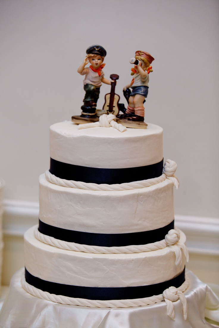 Nautical Rope Wedding Cake, Sailor Toppers