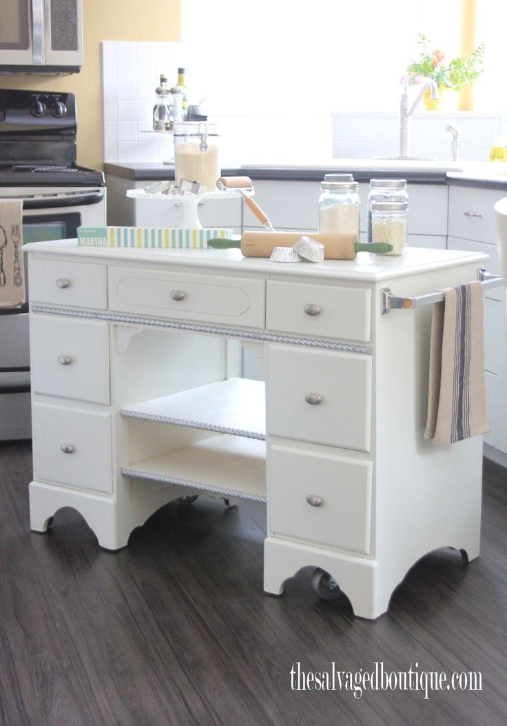 vintage desk turned rolling baker's cart/island
