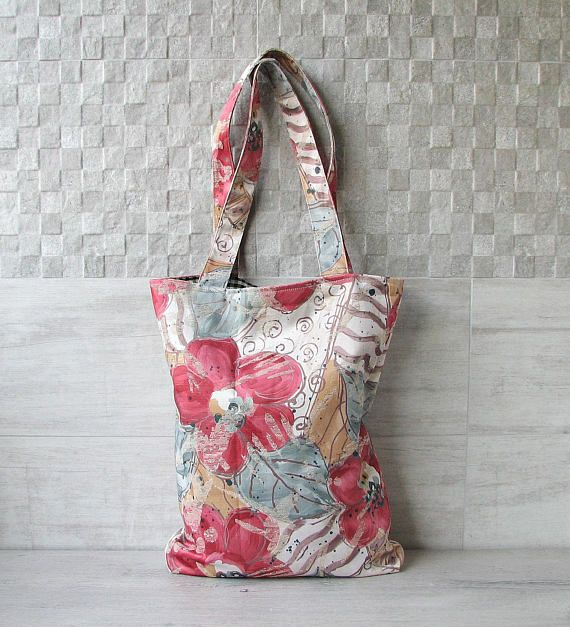 Shopper tote bag  poppy Vintage fabric shopping eco friendly
