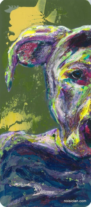 """Doghead"" by Jeff Wrench, acrylic on paint chip. #art #painting #portrait #paintchip #animal #dog"