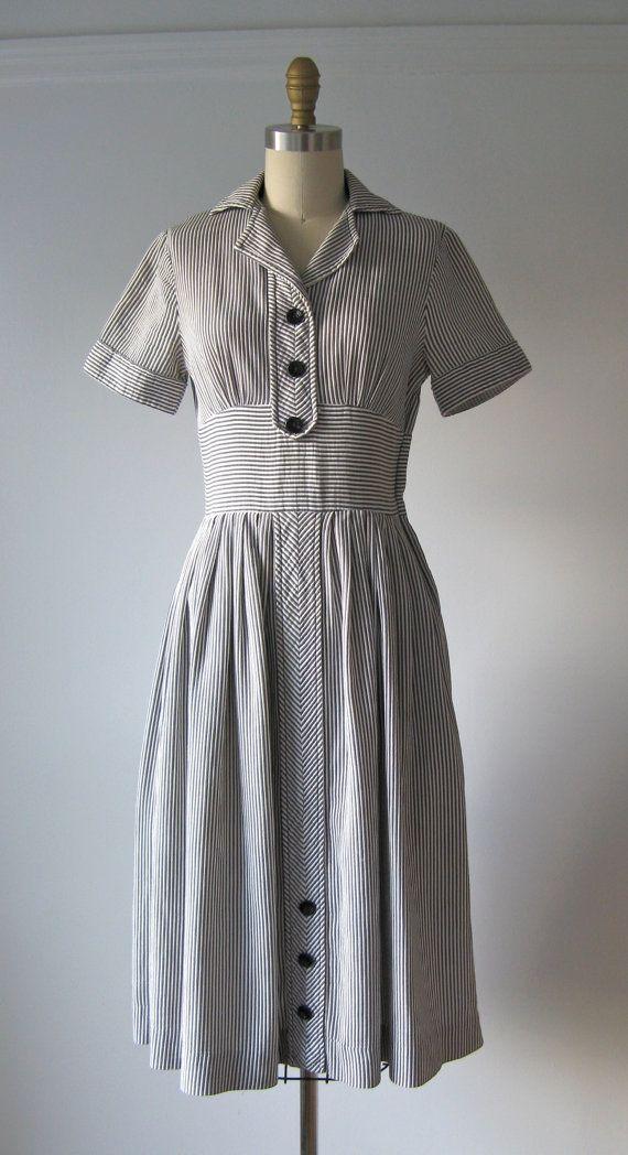 1940s Day Wear: Vintage 1940s Dress / 40s Day Dress / Stripe Spirit