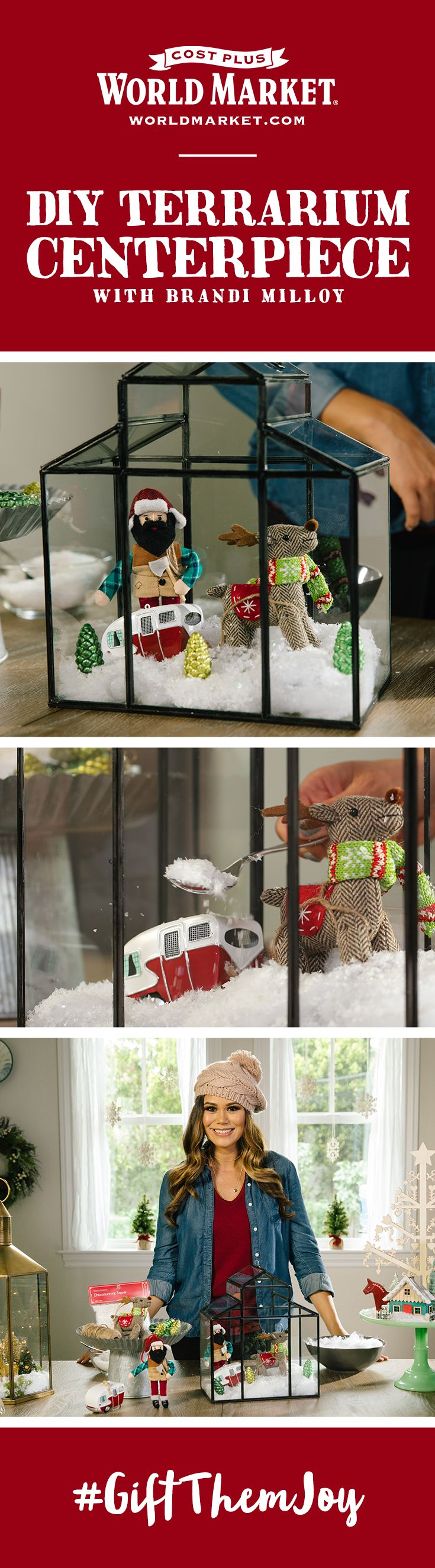 Take your holiday decorating up a notch this season with Brandi Milloy's inspiring ideas for festive DIY terrarium centerpieces. Perfect for holiday tablescapes, entryway decor, the mantel, or just about anywhere else you could imagine. Visit the Cost Plus World Market blog to see the full video, along with tons of other ways to #GiftThemJoy.
