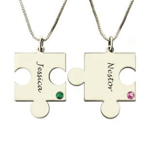Engraved Puzzle Necklace with Birthstones