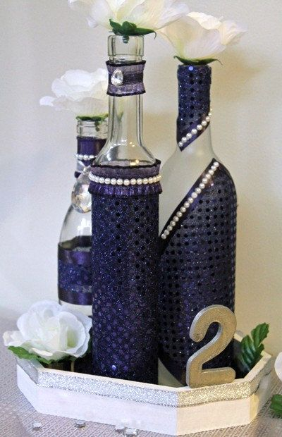 Set3 Decorated Wine Bottle Centerpiece Lapis By