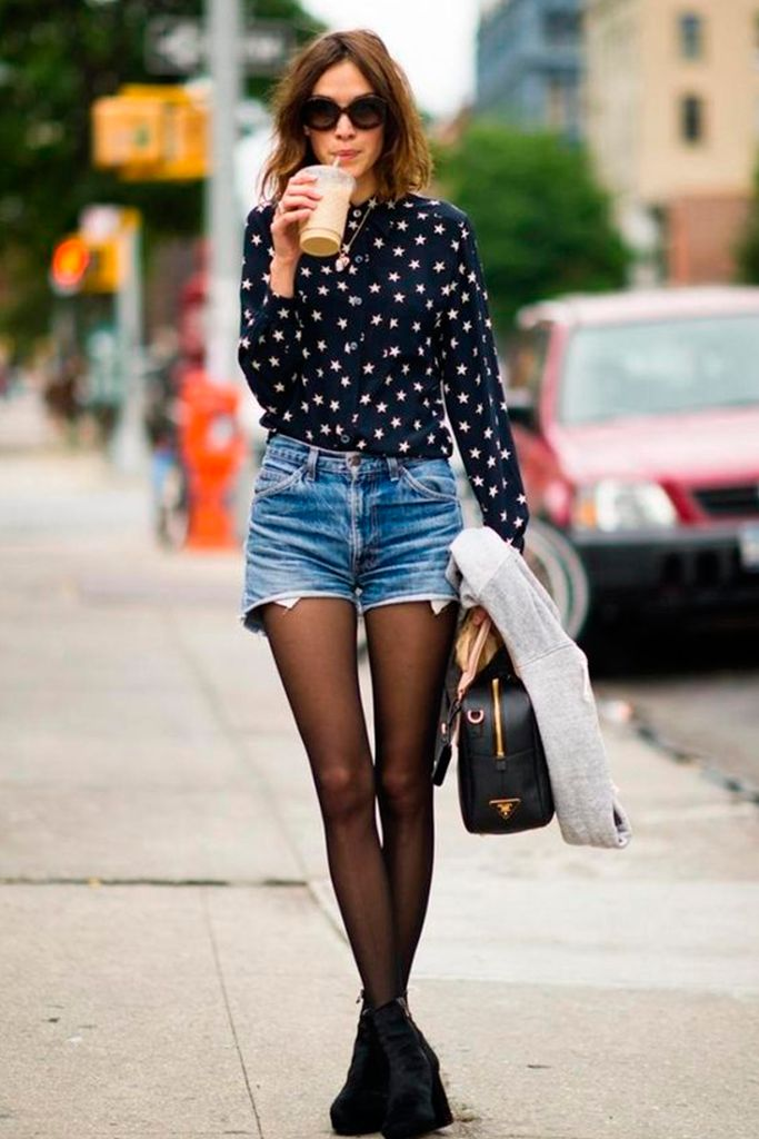 #basic #streetstyle #outfit #looks #basicos #inspiracion #inspiration #denim #shorts #Alexa #chung
