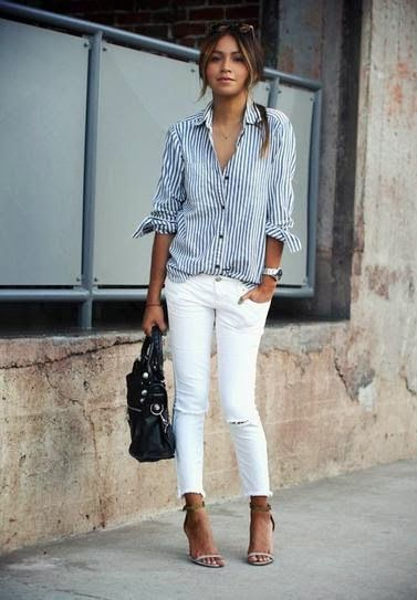 casual button down and white skinny jeans. vertical stripes!