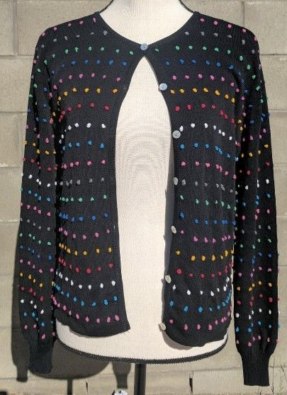 3659736e536ef5 Joseph A. Women s sweater Cardigan Black Multi Color Embroidered Dots SZ  Large