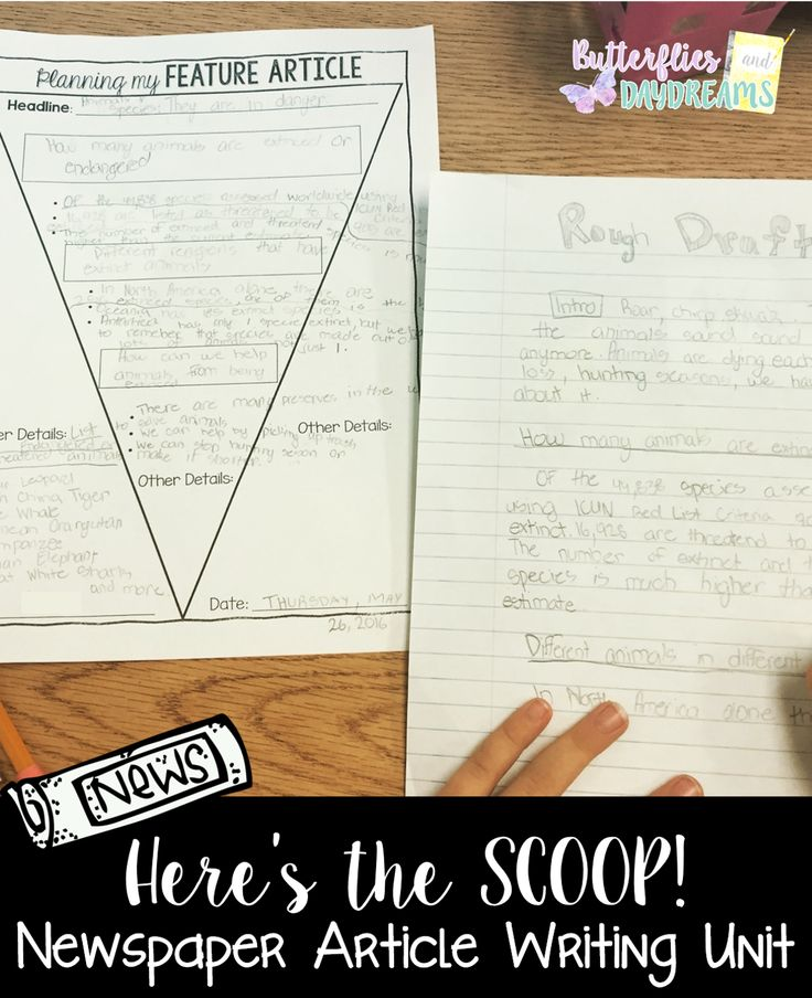 Writing a Newspaper Article Unit for Grades 3-6- Includes Writing Notebook Anchor Charts, Rubrics & Checklists, Planning Pages, Lesson Ideas, Large Anchor Charts or Slides to use like a presentation.