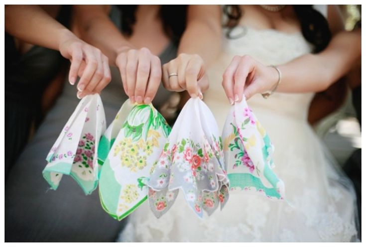 The wedding handkerchief tradition! It's all based on a wedding fable claiming that if a bride cries on her wedding day, those shall be the last tears she sheds about her marriage. So in America, bridesmaids and brides often give each other handkerchiefs as wedding favours or presents.