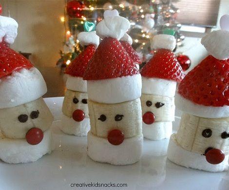Postres de Navidad fáciles; Papá Noel de fresa, plátano y nubes