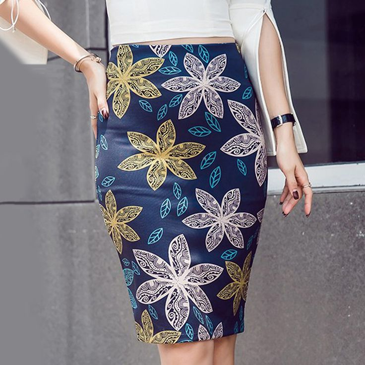 S-5XL Autumn Ladies Elegant Baroque Style Pattern Print High Waist Tight Pencil Skirt