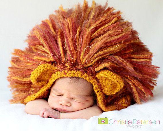 How cute... For a Halloween baby announcement!  Crochet Lion Hat  Newborn Photo Prop  Girl Or Boy  by Farmersdozen, $30.00