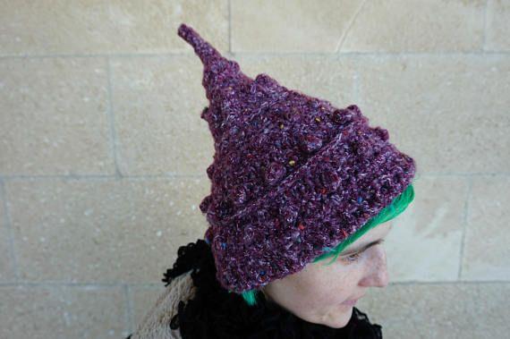 Crochet light Pixie Hat, Fae hat in dark solid pink color