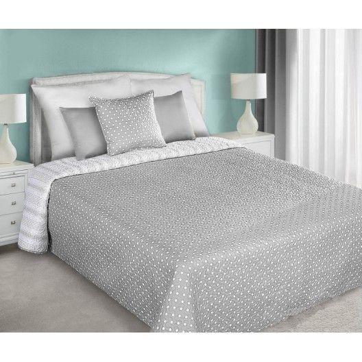 Obojstranné prehozy na posteľ sivej farby s bielymi bodkami