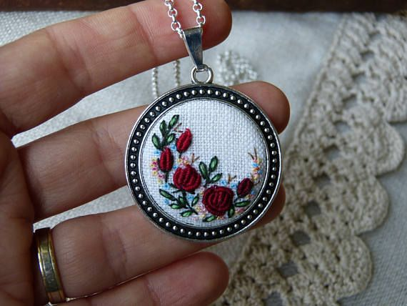 Floral embroidered necklace, pendant, silver tone, Needlework, Romantic roses, Hand embroidery, needlepainting. This pendant is hand embroidered. Ready for shipment. Pendant size: 50x40mm / 1,97x1,57 Size of central element: 30 mm / 1,18 Chain Length: 50 cm / 19,69 (default, I can change the length of the chain) Clasp: Lobster This item come gift organza bag. Surface of embroidery is protected from moisture and dirt by professional impregnate. Every time I make embroider...