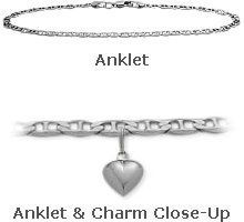 """14K 9"""" White Gold Flat Gucci Style Anklet with 9mm Heart Charm Elite Jewels. $319.50. Save 36% Off!"""