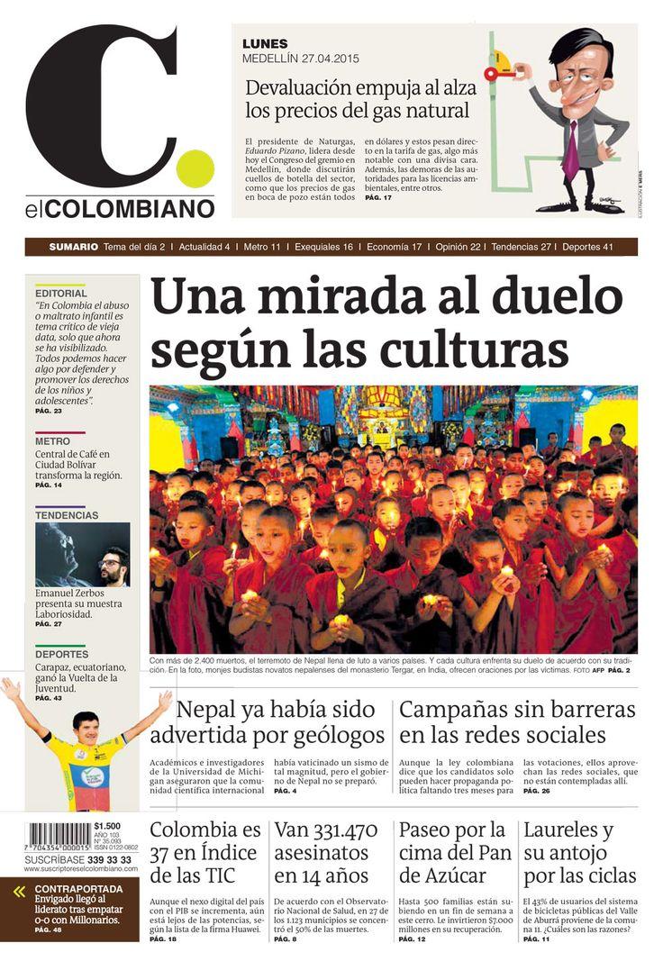 Portada de El Colombiano para el lunes 27 de abril de 2015.