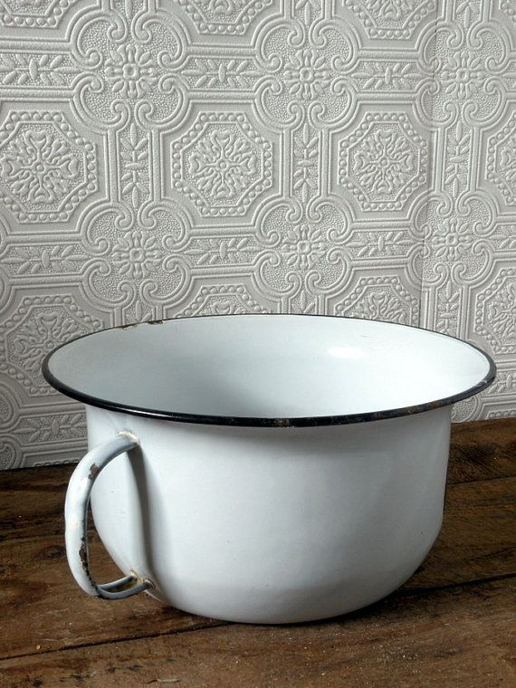Vintage White Enamelware Chamber Pot Vintage Handmade
