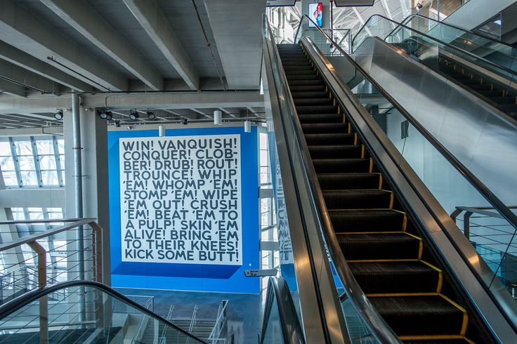 """""""Win"""" by Mel Bochner, one of the works of art you can see on a Cowboys stadium tour"""