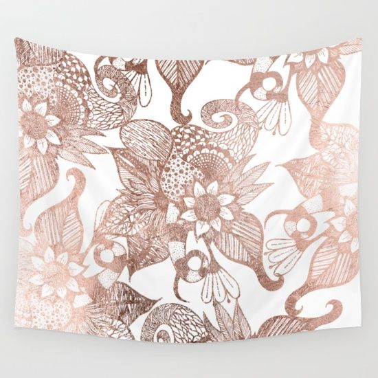Vintage Faux Rose Gold Rustic Floral Drawings wall tapestry on Society 6